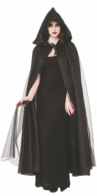 Womens Black Hooded Cape