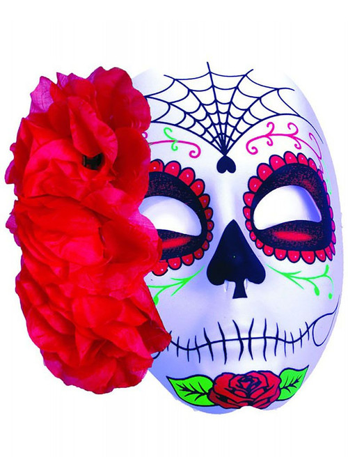Day of the Dead Mask with Red Flower