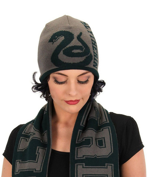 Reversible Slyltherin Knit Beanie Harry Potter