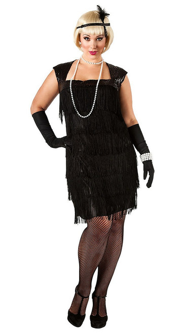 Flapper Black Costume Plus