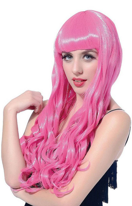 Long Curl Hot Pink Wig