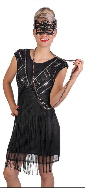 Black Flapper Dress Fringed