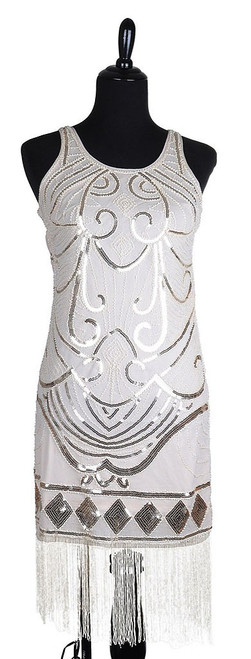 Beige Flapper Beaded Dress