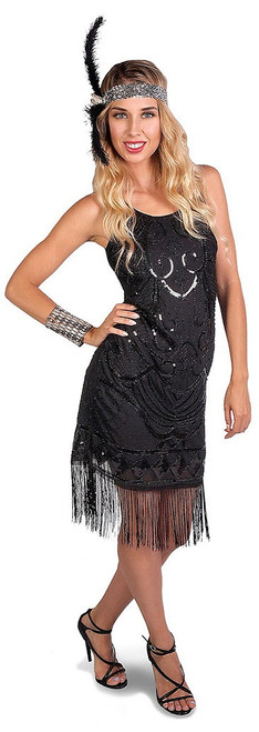 Black Flapper Beaded Dress