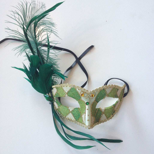 Green Feathered Venetian Mask