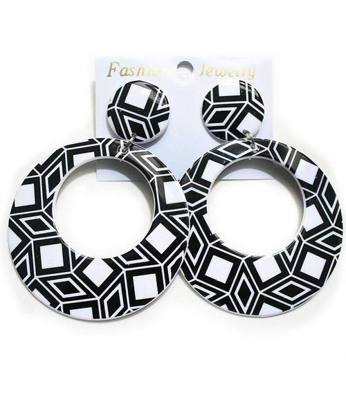 Geometric Black & White Earrings