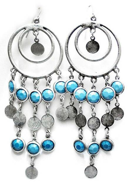 Silver & Blue Tribal Earrings