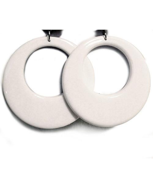 White Mod 70s Earrings