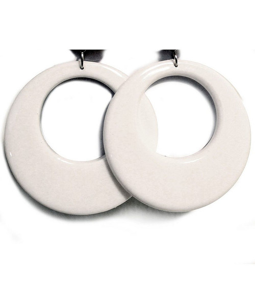 White Mod 70s Earrings