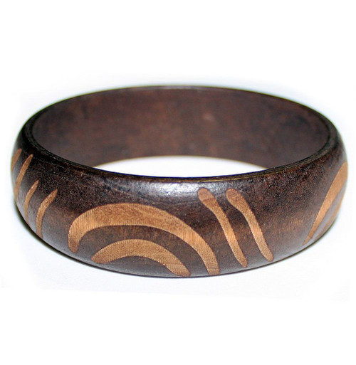 Carved Wooden Bangle Brown