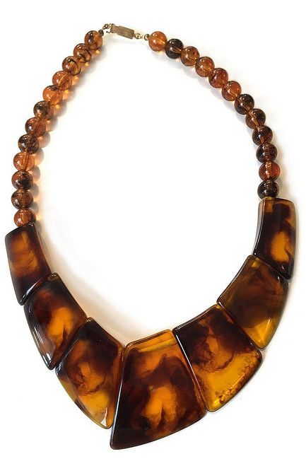 Stained Acrylic Brown Necklace