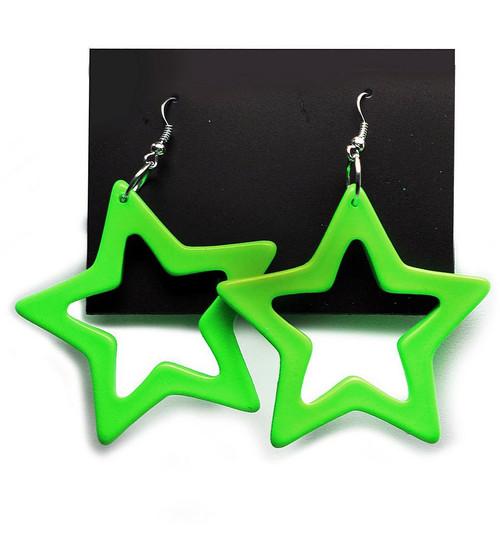 Star Earrings Neon Green