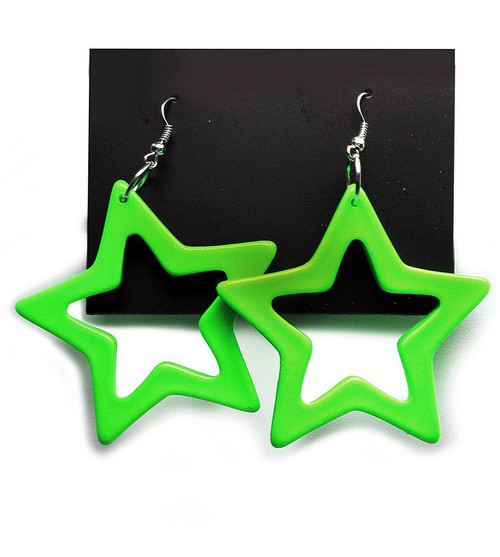 Star Earrings Neon Green