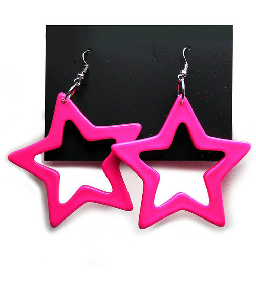Star Earrings Neon Pink