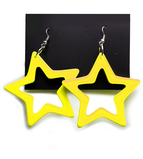 Star Earrings Neon Yellow