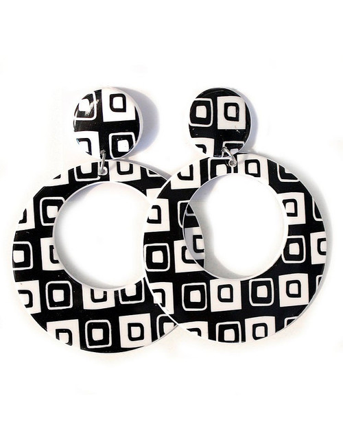 Geometric Squares Black & White Earrings