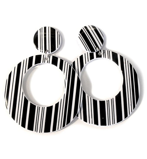 Geometric Black and White Earrings