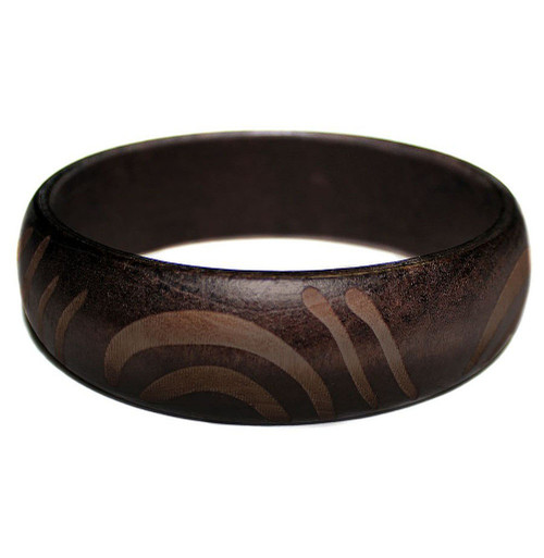 Carved Wooden Bangle Black