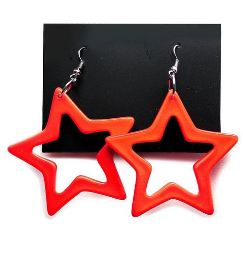 Star Earrings Neon Orange