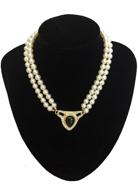 Black Jeweled Pearl Necklace