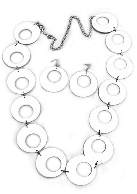 70s White Circle Chain Belt