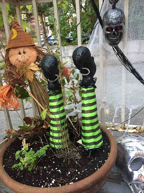 Green Witch Leg Stake Pumpkin Decor (2 pieces)