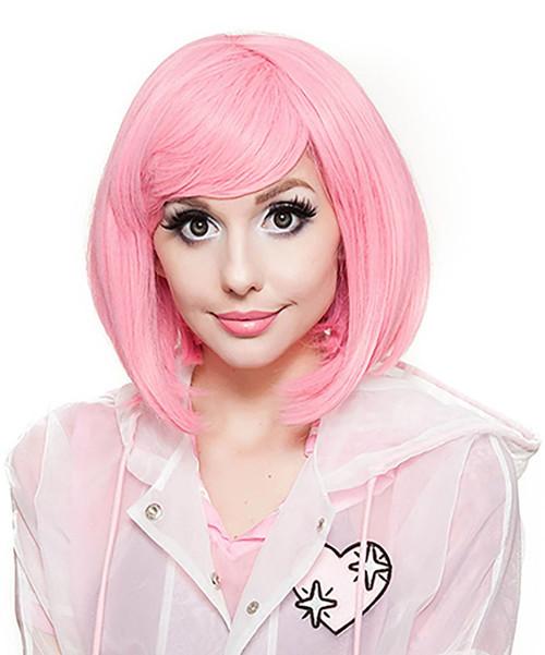 Short Bob Pink Woman Wig