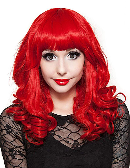 Bang Curly Red Wig
