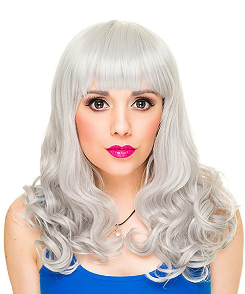 Bang Curly Silver Wig