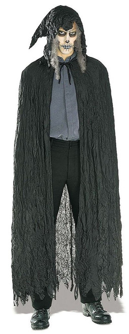 Black Crinkle Hooded Cape