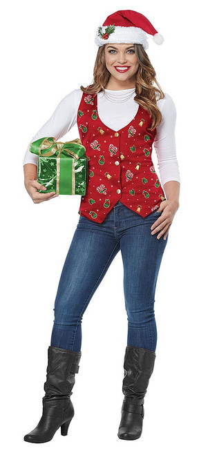 Red Christmas Vest Womens