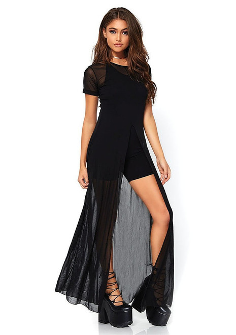 Black Sheer Slit Long Dress