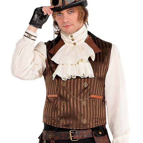 Mens Steampunk Vest With Attached Shirt