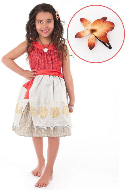 Polynesian Princess Girl Costume with Hair Clip