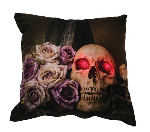 Skull & Roses Light -Up Pillow Decoration