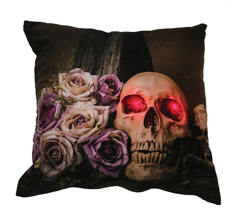 Skull & Roses Light -Up Pillow Decoration