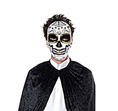 Day of the Dead Black Skull Mask