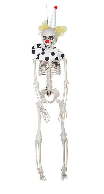 Hanging White Skeleton Clown Decoration 16""