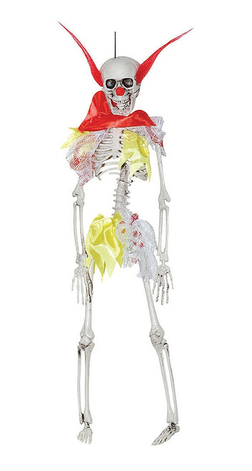 Hanging Red & Yellow Skeleton Clown Decoration 16""
