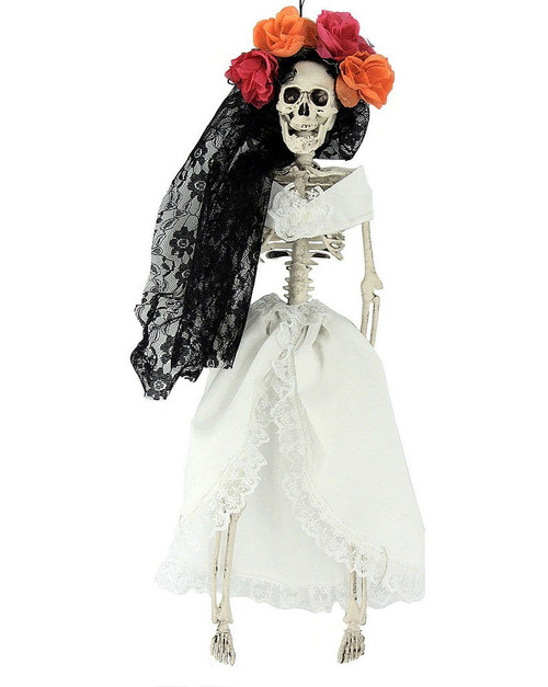 Hanging Dressed Woman Skeleton Decoration 16""