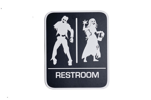 Halloween Zombie Restroom Sign Decoration