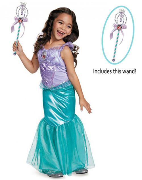 Little Mermaid Ariel Girl Costume and Wand