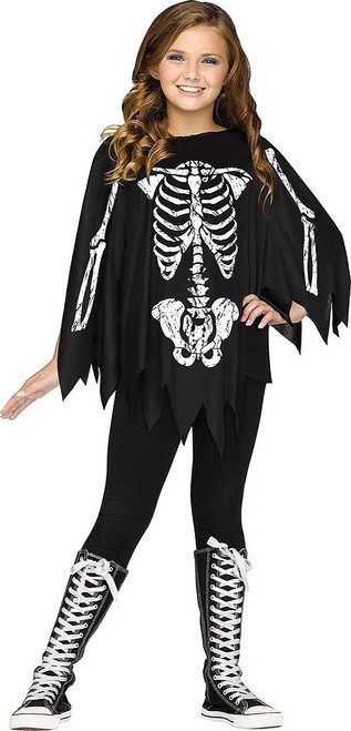 Skeleton Poncho Girl Costume