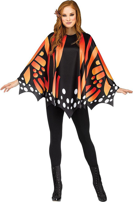 Monarch Orange Butterfly Poncho Woman Costume
