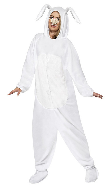 Rabbit White Hooded Jumpsuit Woman Costume
