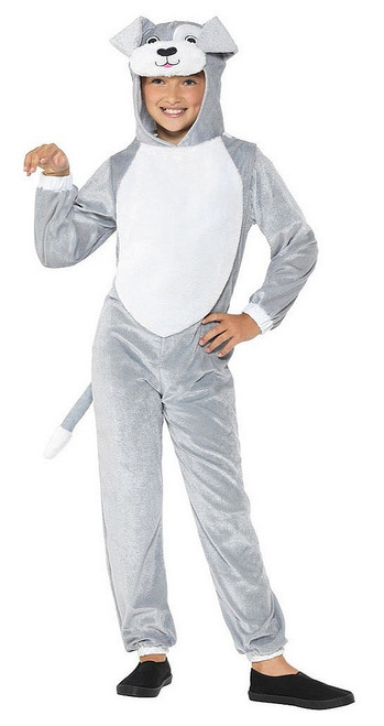 Grey Dog Onesie Girl Costume