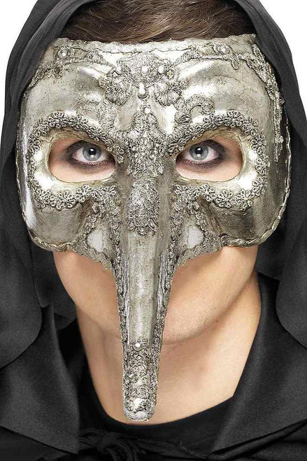 Luxury Venetian Capitano Mask Silver