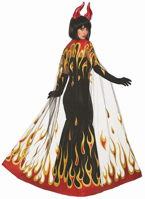 Devil Fire Cape Woman Costume