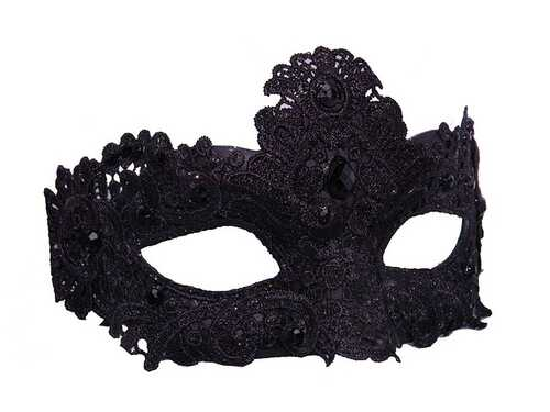 Lace Black Mask with Gems