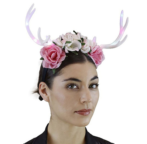 White Antler Headband with Flowers